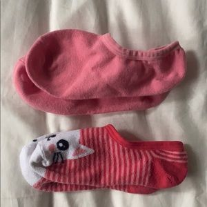 New Short Ankle Socks Pink with Cat - 2 pair